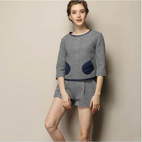 Grey And Blue Leater Sleeve Pocket Knitted Shirt With Paired Shorts