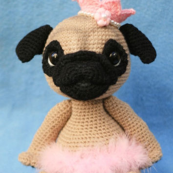 Sleepy-eyed pug amigurumi pattern by Emi Kanesada (Enna Design ... | 354x354