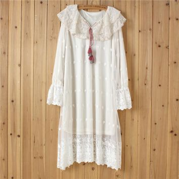 Japanese Mori Girl Sweet Bohemian Hippie Boho Lolita Harajuku Crochet Embroidery Women Autumn Loose Long Sleeve White Lace Dress