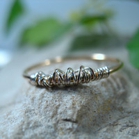 Thin Tangled Gold with Silver 18g Stacking Ring