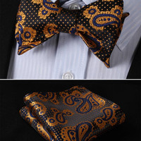 Brown, Gold Floral 100% Silk Butterfly Tie Self Tie Bow Tie Pocket Square Bow ti