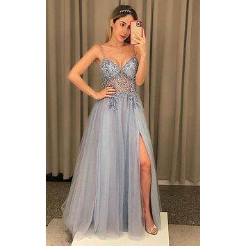 Silver Grey Prom Dresses, Homecoming Dress, Formal Dress, Evening Dress, Dance Dresses, Graduation Party Dress, DT0750