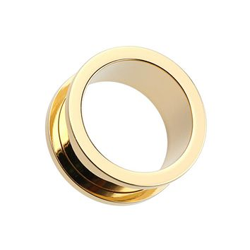 Gold Plated Screw-Fit Ear Gauge Tunnel Plug
