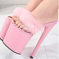 Explosive hot sale stiletto sexy waterproof platform high super high slippers