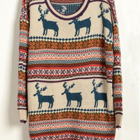 Deer Print Christmas Sweater