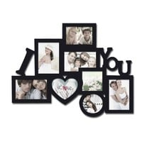 "BEST SELLER! Adeco Decorative Black Wood ""I Love You"" Wall Hanging Collage Picture Photo Frame, 8 Openings, Various Sizes with Heart Shape, Select Gift, Housewarming, Wedding"