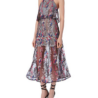 Self-Portrait Floral Vine Embroidered Dress | INTERMIX