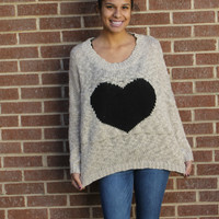 Big Heart  Slub Yarn Sweater