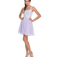 Lilac Chiffon & White Sequin Short Dress Prom 2015