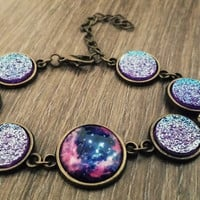 Blue purple druzy Galaxy Bronze tone link bracelet