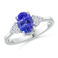 Solitaire Tanzanite and Diamond Promise Ring