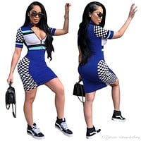 Fashion Skinny Women Dresses Black Blue Plaid Party Club Sexy Dress Summer Dress Women Clothing S-2XL