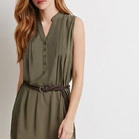 Pintucked Popover Shift Dress