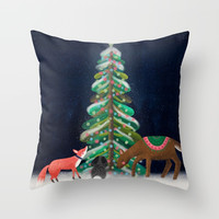 Merry & Bright Throw Pillow by noondaydesign