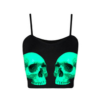 Neon Blue Teal Skull Black Print Limited Edition Crop Top Tumblr clothing / grunge / seapunk / 90s / pastel goth