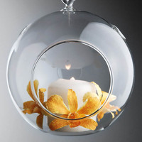 """Hanging Glass Ball Candle Holders 5"""" Set of 2"""