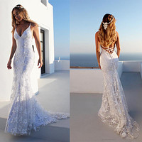 Summer Vintage Sexy Dress Women Party Wedding Prom Elegant Dress Lady Graduation Ball Pockets Hollow Out Lace Floral Maxi Dress