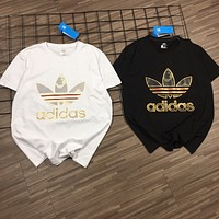 """""""Adidas"""" Unisex Sport Casual Classic Clover Letter Print Couple Short Sleeve Cotton T-shirt Top Tee"""