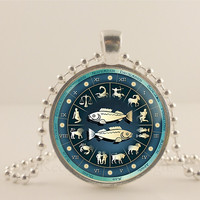 Pisces birth sign, Zodiac, Astrology glass and metal Pendant necklace Jewelry.
