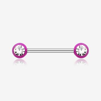 A Pair of Acrylic Gem Ball Nipple Barbell Ring