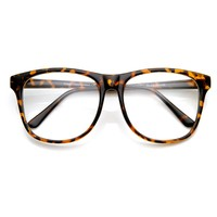 Large Oversized Bold Frame Clear Lens Horn Rimmed Glasses