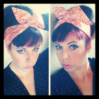 Pink with Roses Polka Dots DollyBow Headwrap Bandana Hair Bow 1940s 1950s Style