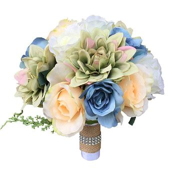 "9"" Bouquet: Light Blue, Peach, Ivory, and Green rose and Dahlia Rustic Bouquet"