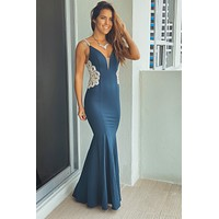 Teal Maxi Dress with Jeweled Detail