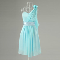 2014 Cheap Custom One Shoulder Light Blue Short Knee Length Bridesmaid Dresses/Wedding Party Dresses/Ball Gown/Prom Dress/Formal Dress