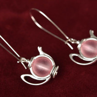 Long earrings made of metal in the form of teapots with beads handmade jewelry