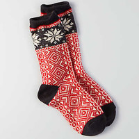 AEO Snowflake Crew Socks, Red