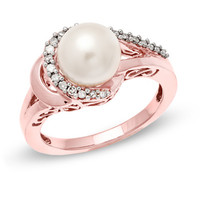 8.0mm Cultured Freshwater Pearl and 1/6 CT. T.W. Diamond Ring in 14K Rose Gold - View All Rings - Zales