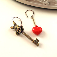 Mismatched Alice in Wonderland earrings White Rabbit key red heart