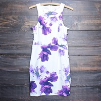 Final Sale - Floral Print Embossed Fabric With Side Cut Out Dress