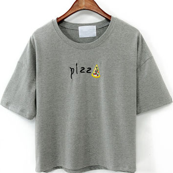 Grey Pizza Print Graphic Cropped T-shirt