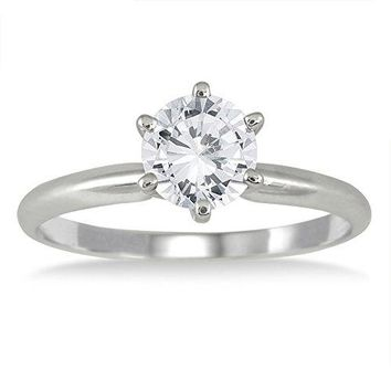 AGS Certified | 1 Carat Diamond Solitaire Ring in 14K White Gold