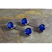 Sapphire Blue Crystal Nipple Barbell Jewelry Barbell