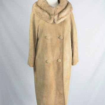 Vintage 60s Tan Suede Swing Coat with Fur Collar M