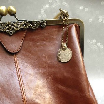 Coin Purse Charm. Handmade accesory. Iranian Coin and Dangle. Brass Chain. Key Chain, Bag Charm. Ethnic Tribal Boho Chic