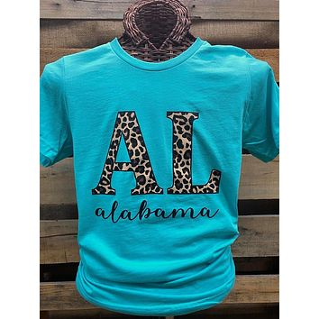 Southern Chics Apparel Alabama Leopard State Canvas Bright T Shirt