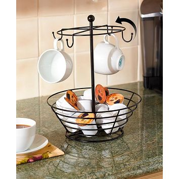 Unique Kitchen Counter Coffee Cup and Coffee Pod Storage Rack Organizer Carousel