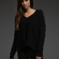 Hi-Lo Hooded Knit Sweater