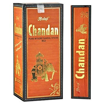 Balaji Chandan (Pure Mysore Sandal) Incense - 15 Sticks Pack (12 Packs Per Box)