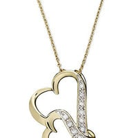 Diamond Necklace, 18k Gold Over Sterling Silver Double Wavy Heart Diamond Pendant (1/10 ct. t.w.) - Necklaces - Jewelry & Watches - Macy's