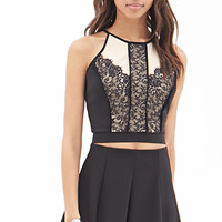 FOREVER 21 Lace Panel Halter Top Black/Nude