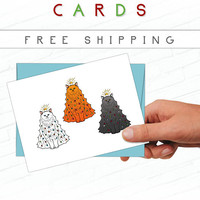 Cat Christmas Card Set, Cat Holiday Cards, Hand Drawn, Kitties, Illustrated Greeting Cards, Cats in Christmas Tree, Illustrated, Cat Lovers
