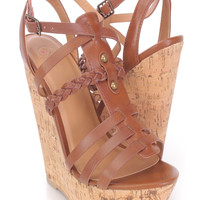 Tan Strappy Cork Wedges Faux Leather