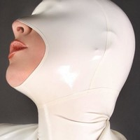 Free Shipping ! 	New Arrival White Full Cover Latex Hood Mask With Back Zipper Fetish Rubber Mask Open Mouth