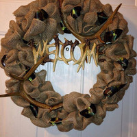 Welcome camo wreath, hunting wreath, deer antler wreath, redneck wreath, camouflage wreath, burlap wreath, rustic wreath