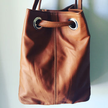 Cross body leather bag, Shoulder bag or backpack. Genuine lambskin leather, cotton lined, Quality handmade tote